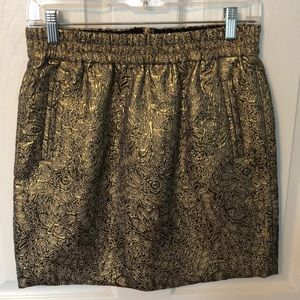 LOFT Metallic Gold Mini Skirt